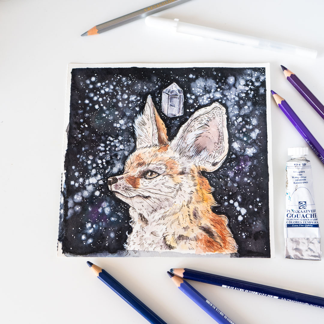 …whereas the fennec fox lives surrounded by night sky and a crystal.