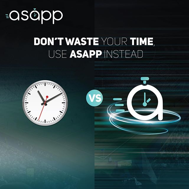 Don't waste your time, use asapp instead! . . . #NoTimeWasted #inseatdelivery #expresspickup #advertisement #sports #football #soccer #delivery #stadiums #mobile #quick #service #tech #app #qatar #doha #food #drinks #merchandise #fast