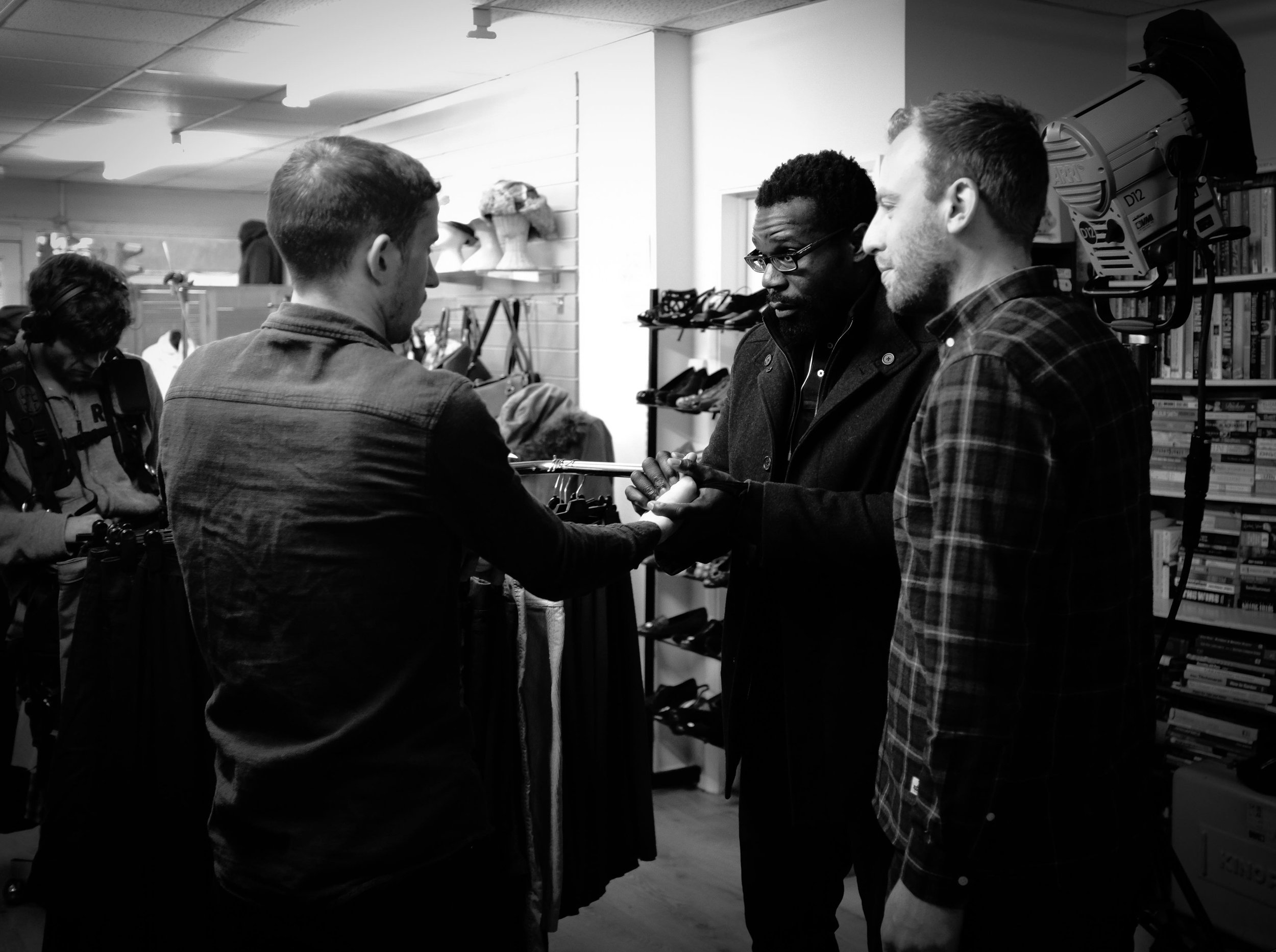 Emilio Iannucci, Daniel Adegboyega and director Jack McInroy on the set of GLOSS. Photo by Tomas Robertson. © 2019 All Rights Reserved