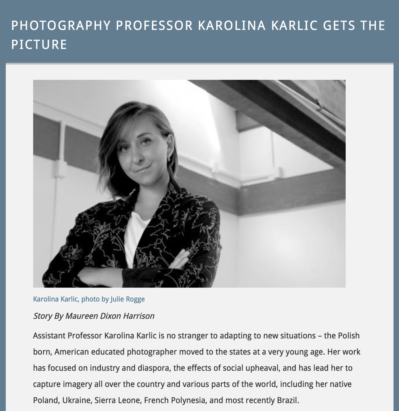 (Press Interview) Karolina Karlic:  Rubberlands , featured by the University of California, Santa Cruz.