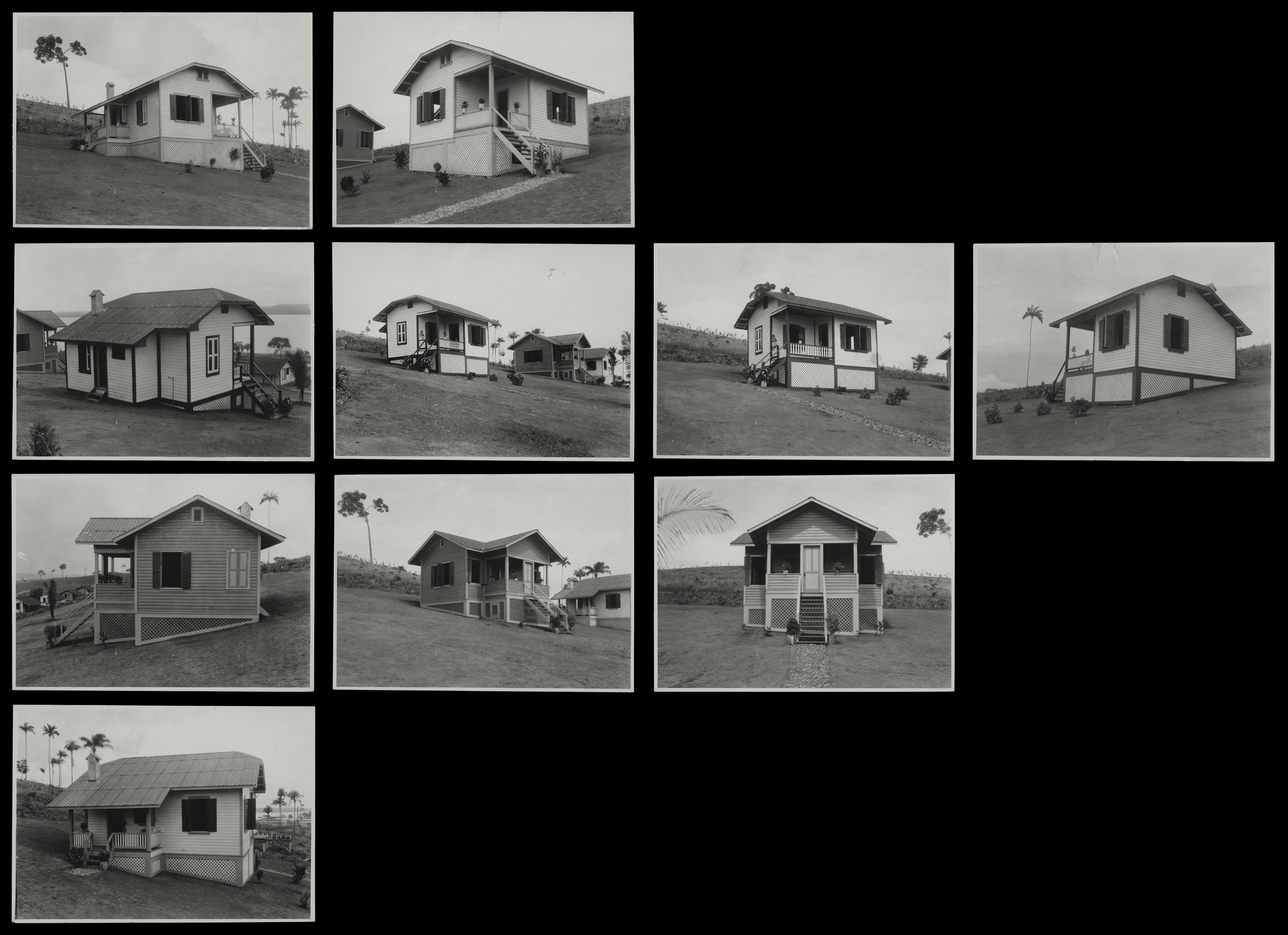 "(research image) ""Employee Housing,"" Fordlandia, Brazil, June 1932. Grid of (10) 3 x 4.25"" gelatin silver fiber print. Creator: Companhia Ford Industrial Do Brasil Ford Motor Company. From the Collections of The Henry Ford."