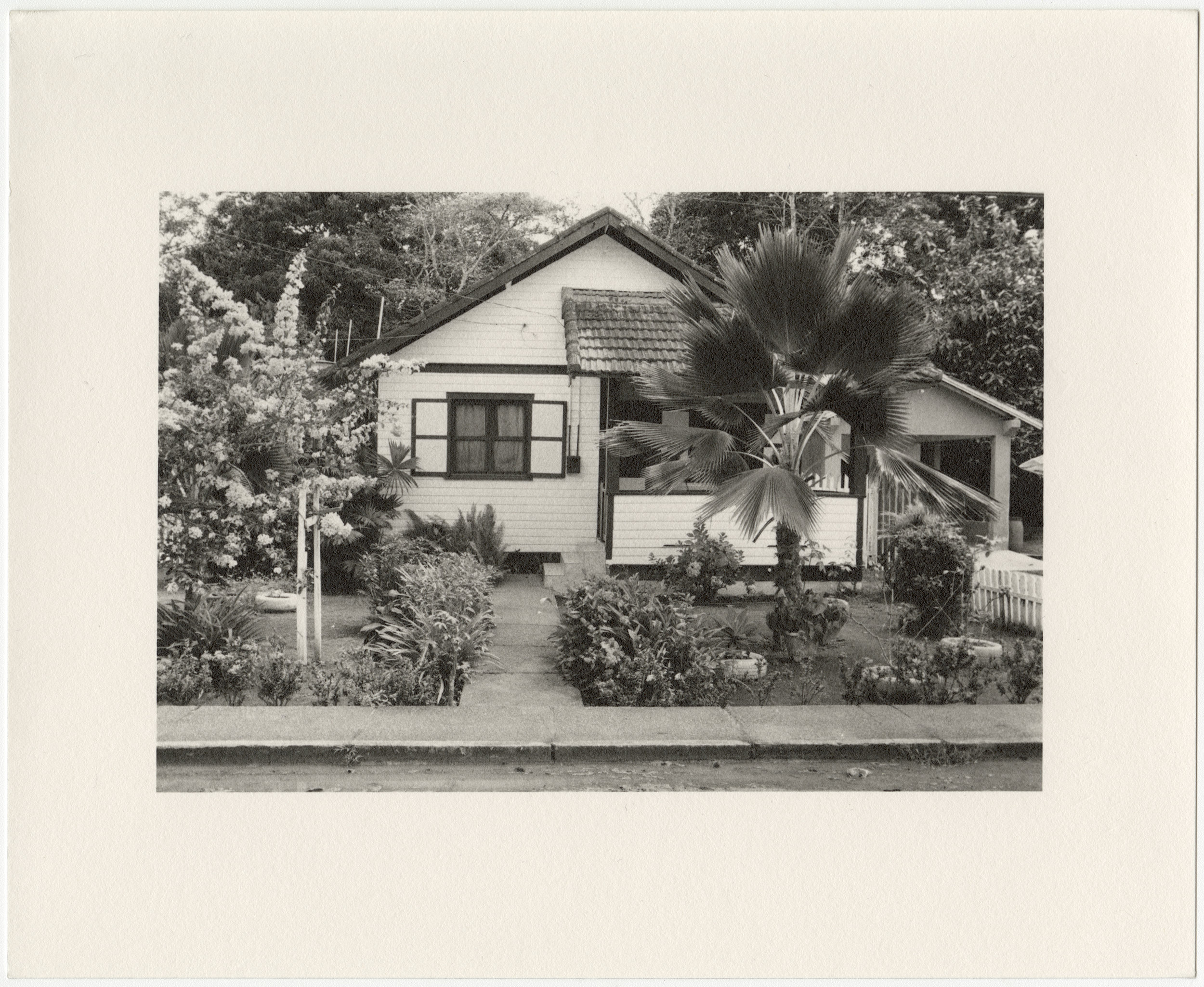 """Belterra employee house with palm tree, built in 1934 by the Companhia Ford Industrial Do Brasil Ford Motor Company. 2014 Belterra, Pará, Brazil. Gelatin silver fiber print, 8"""" x 10"""", 2018"""