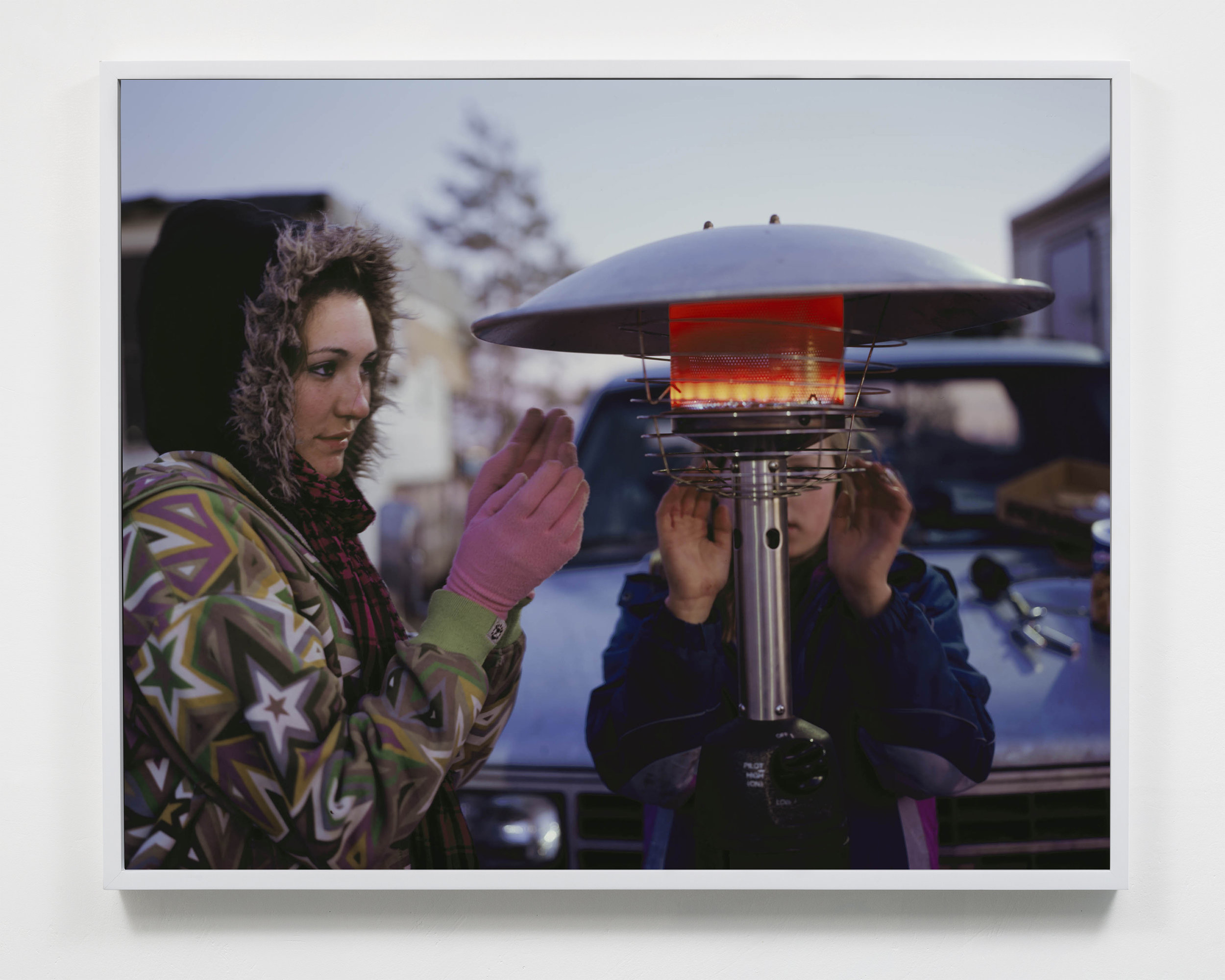 Arizona family with heater in Walmart parking lot, Williston, North Dakota, 2011.