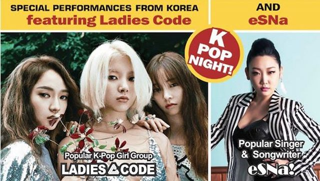 KPOP Night at the Korean Festival will be from 7:00pm to 9:00pm at the Entertainment Stage on the south end of the festival! We will have a performance from eSNa, followed by Ladies Code. Following the concert, the public is invited to a meet and greet with the stars. There is no charge for the concert or the meet and greet! Lawn seating is available on a first come, first serve basis.