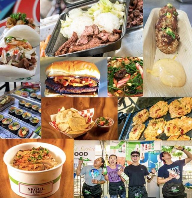 Today we are featuring twelve different food vendors and a Korean soju and beer garden. Please look for our script booths to make your purchases. We will have an ATM on site. There is a seated dining tent area, based on availability. Please feel free to bring umbrellas, mats and blankets for grass seating.