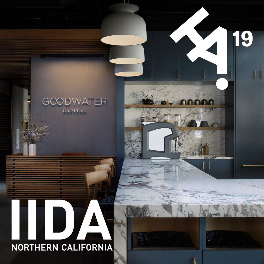 IIDA Honor Award   Our project for the office of Goodwater Capital in Burlingame, California was awarded a IIDA Northern California Honor Award for Small Workplace Design. Learn more about the project  here .