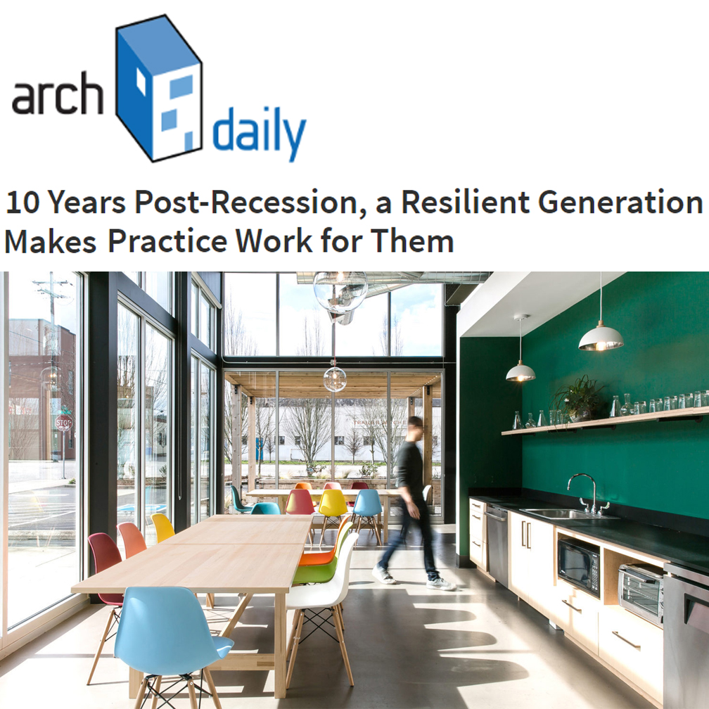 Arch Daily   In this November 2018 article on Arch Daily, principal Ming Thompson discusses the unique opportunities and challenges for the rising generation of architects. Click here for  10 Years Post Recession, A Resilient Generation Makes Practice Work for Them .