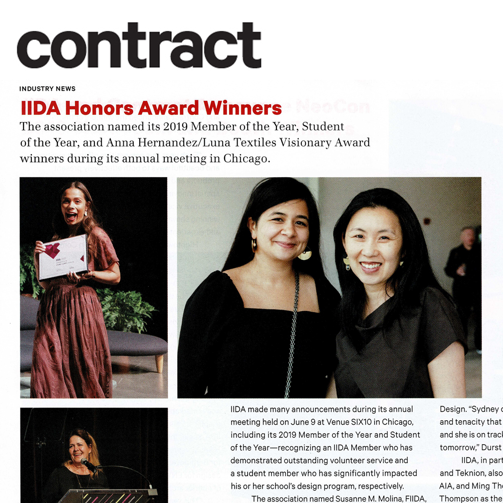 Contract Magazine   Principals Christina Cho Yoo and Ming Thompson are featured in the September 2019 issue of Contract Magazine as winners of the IIDA Visionary Award.