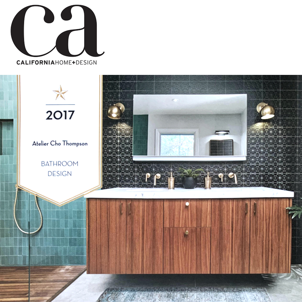 """CA Home and Design   ACT's design for the Los Altos Hill Residence won the California Home and Design Award for Best Bathroom Design in 2017. Learn more about the project  here .  """"Bay Area design firm Atelier Cho Thompson received a dream design project when tasked with renovating the master bathroom for a couple who have lived in both Japan and Korea, two countries known for taking bathing very seriously…"""""""