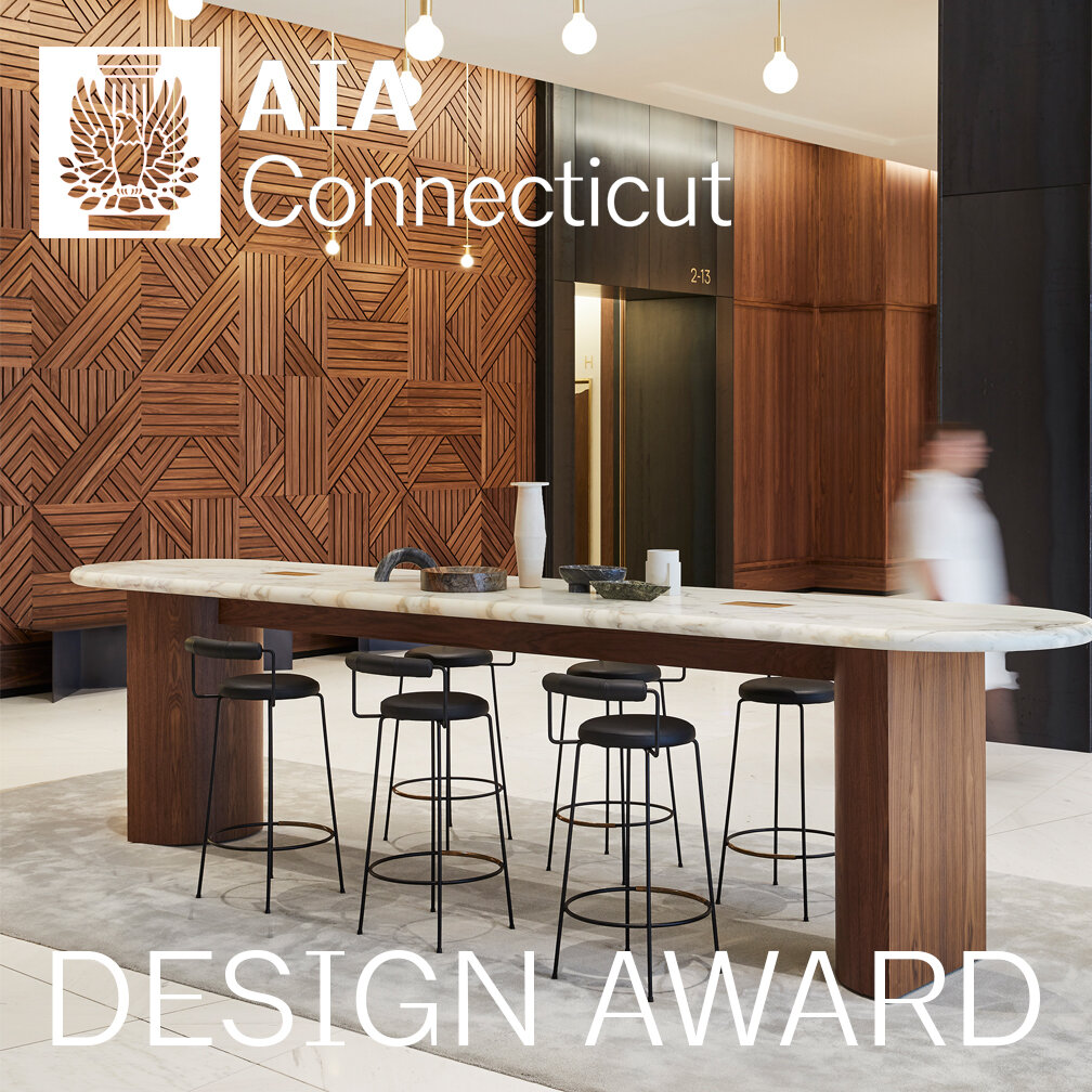 AIA CT Design Award   We are proud to announce that our project for the lobby of 100 Summer Street was awarded an AIA Design Award from AIA Connecticut. Learn more about the project  here .