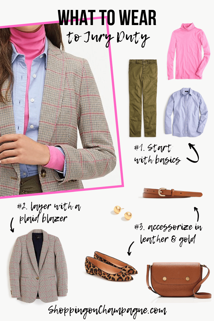 What to Wear to Jury Duty - Outfit 2: Blazer, pants, and leather & gold accessories. Pin this outfit for later!