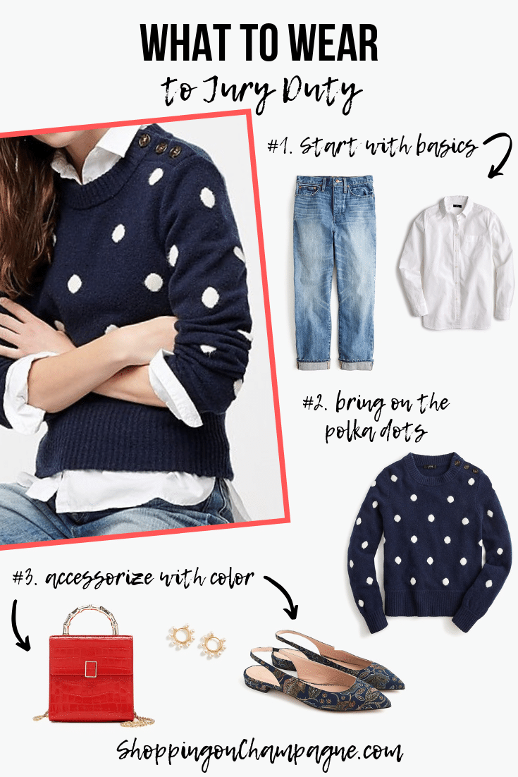 What to Wear to Jury Duty Outfit 3: Jeans, a Button-Down Shirt, and Polka-Dot Pullover Sweater. Pair it with cute and colorful accessories. Pin this outfit for later!