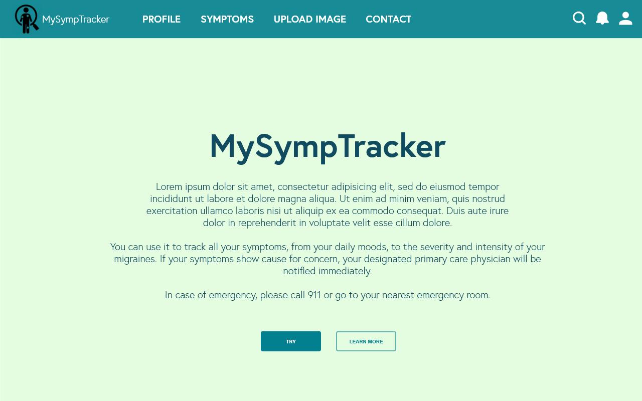 MySympTracker's homepage