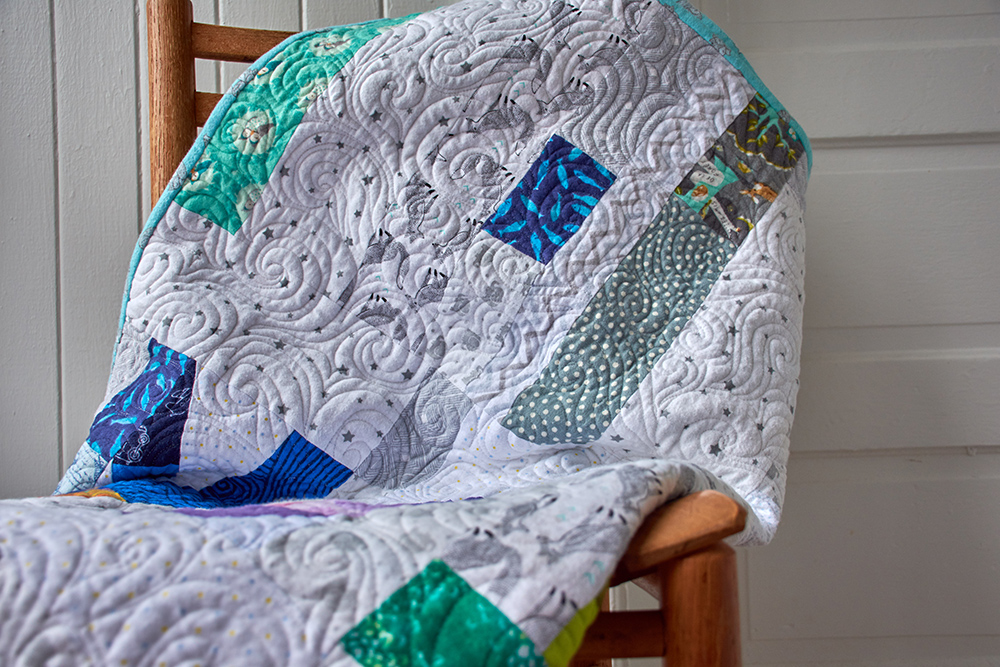 Birth celebration quilt in nap size, with all cotton flannel and batting