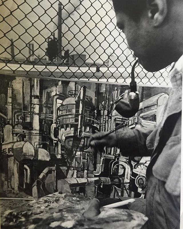 Edward Loper Jr circa 1968 painting the Getty Oil refinery in Delaware City. ⠀⠀⠀⠀⠀⠀⠀⠀⠀ ⠀⠀⠀⠀⠀⠀⠀⠀⠀⠀⠀⠀⠀⠀⠀⠀⠀⠀⠀⠀⠀⠀⠀⠀⠀⠀⠀⠀⠀⠀ ⠀⠀⠀⠀⠀⠀⠀⠀⠀ #edwardloperart #sketch #painting #draw #instaart #creative #canvas #acrylic #oilpainting #canvasart #painting #painter #paint #nuest #contemporaryart #뉴이스트