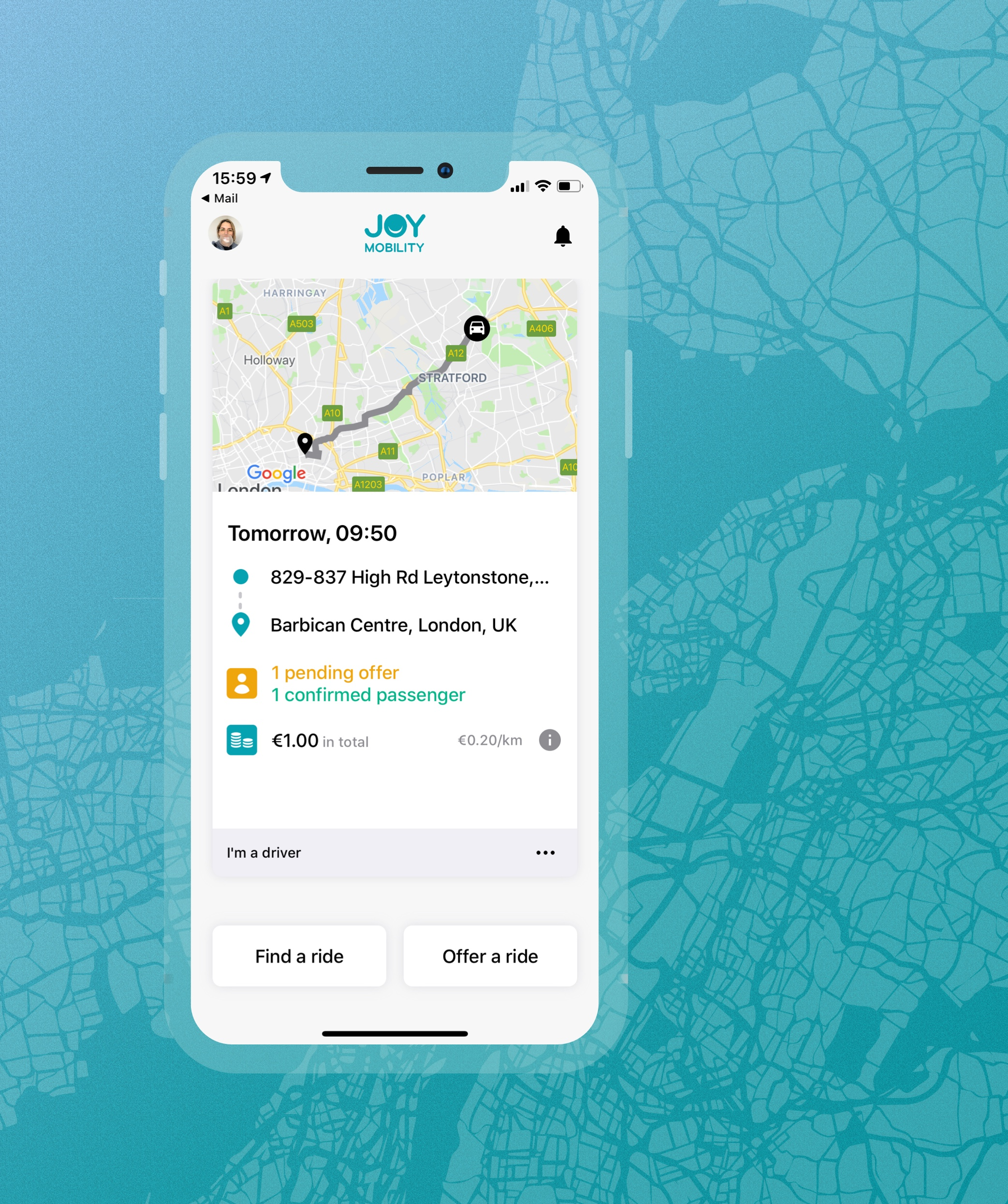 For companies - Many people have to drive to work and they usually do it alone. What if rides were shared? It's an advantage for both the drivers and passengers. Your company will benefit too!Learn more ➝