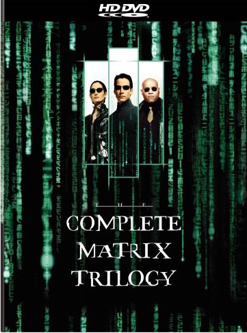 [Film Series] The Matrix Trilogy - A Postmodern film with all the classic Hero's Journey Stages. The Complete Matrix Trilogy presents the complete adventures of machine battling truth-seekers Neo (Keanu Reeves), Trinity (Cary-Anne Moss) and Morpheus (Lurence Fishburne) in all three of the Wachowski's ground-breaking monumental sci-fi feature films. This collection features all three films in Hi-def and includes exclusive In Movie Experience (IME). These are the ultimate films for the ultimate hi-def format!Running Time: 403 min.