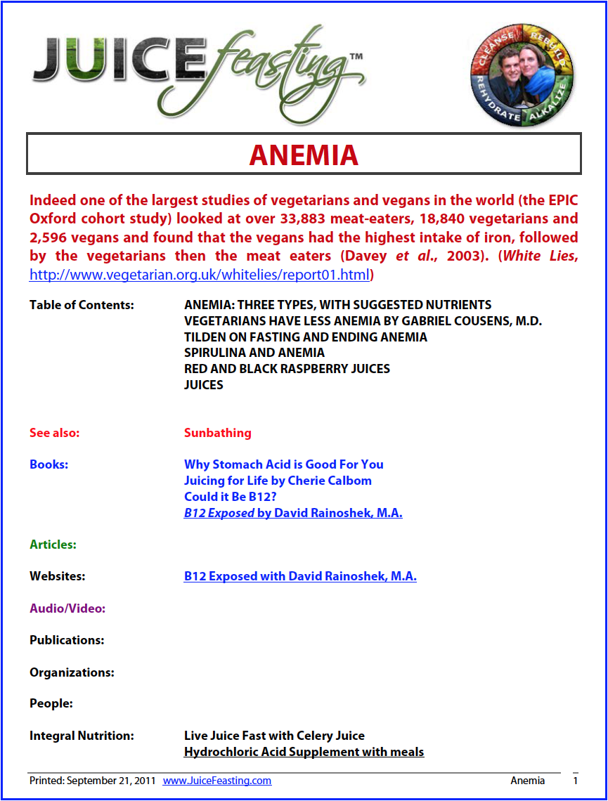 Anemia - by David Rainoshek, M.A.Anemia is a condition in which there is a reduction in the total number of red blood cells or volume of blood, or an abnormal size or shape of red blood cells. It is characterized by extreme paleness, weakness, a tendency to tire easily, insomnia, irritability or depression, and decreased resistance to infection. Iron is an important factor in anemia, as the formation of red blood cells is impaired in those lacking sufficient amounts of iron. However, there are many causes of anemia; iron deficiency is only one. Other deficiencies, including those of folic acid and vitamin B-12, along with abnormal hemoglobin production as in sickle cell anemia, may also cause this condition.