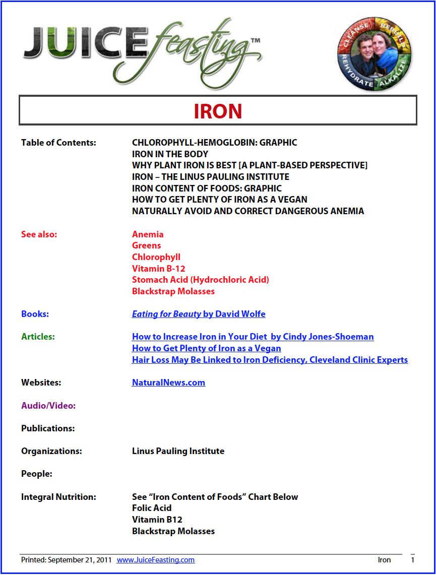 iron - by David Rainoshek, M.A.An iron deficiency creates a low-level of oxygenation in the blood. This manifests in the form of light-headedness, weakness, fatigue, coupled with an intolerance to cold. In relation to this, we must note that sometimes the body will purposefully keep iron levels low to help flush out parasites. This happens many times when one switches from a meat-based diet to a raw-food vegetarian diet. Also, the body takes time to adapt from heme iron sources in meat to non-heme iron sources in plants – another reason why transition should occur at an appropriate pace. Even so, studies show that 57% of the meat-eating population is deficient in Iron.
