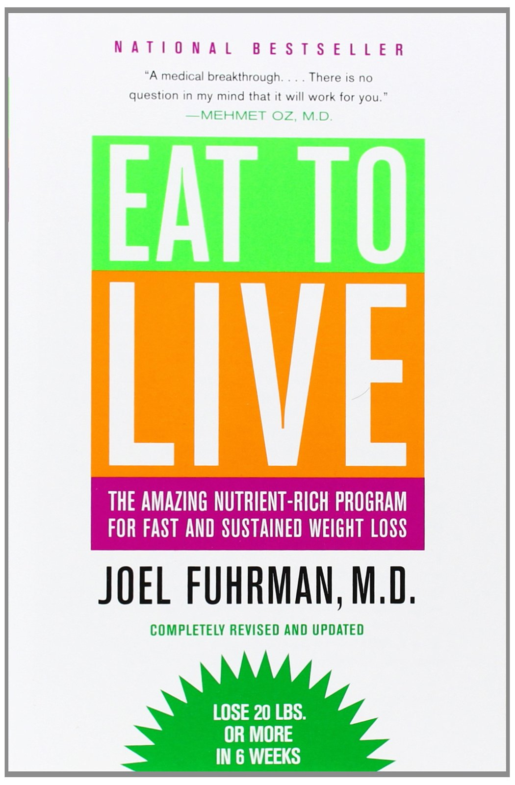 """eat to live - by Dr. Joel Fuhrman, M.D.In this new edition, which incorporates the latest scientific nutritional data, Fuhrman's restrictive diet plan is designed for clinically overweight people who suffer from a spectrum of lifestyle/obesity-induced conditions like diabetes and heart disease and need to drop a significant amount of weight fast—about 20 pounds in the first six weeks. The basis of Fuhrman's program is Nutrient Density, expressed by the simple formula health equals nutrients divided by calories. Fuhrman's """"secret"""" to optimum health and permanent weight control is giving the body only what it needs. An aggressive six-week vegetarian plan segues into a regimen that includes a limited amount of animal products, like lean fish or egg whites once a week. Although proven and sound, this guidebook is not for someone who wants to lose those last 10 pounds or fit into her wedding dress; this is a serious undertaking for dieters whose umpteen previous efforts have failed and whose health is endangered."""