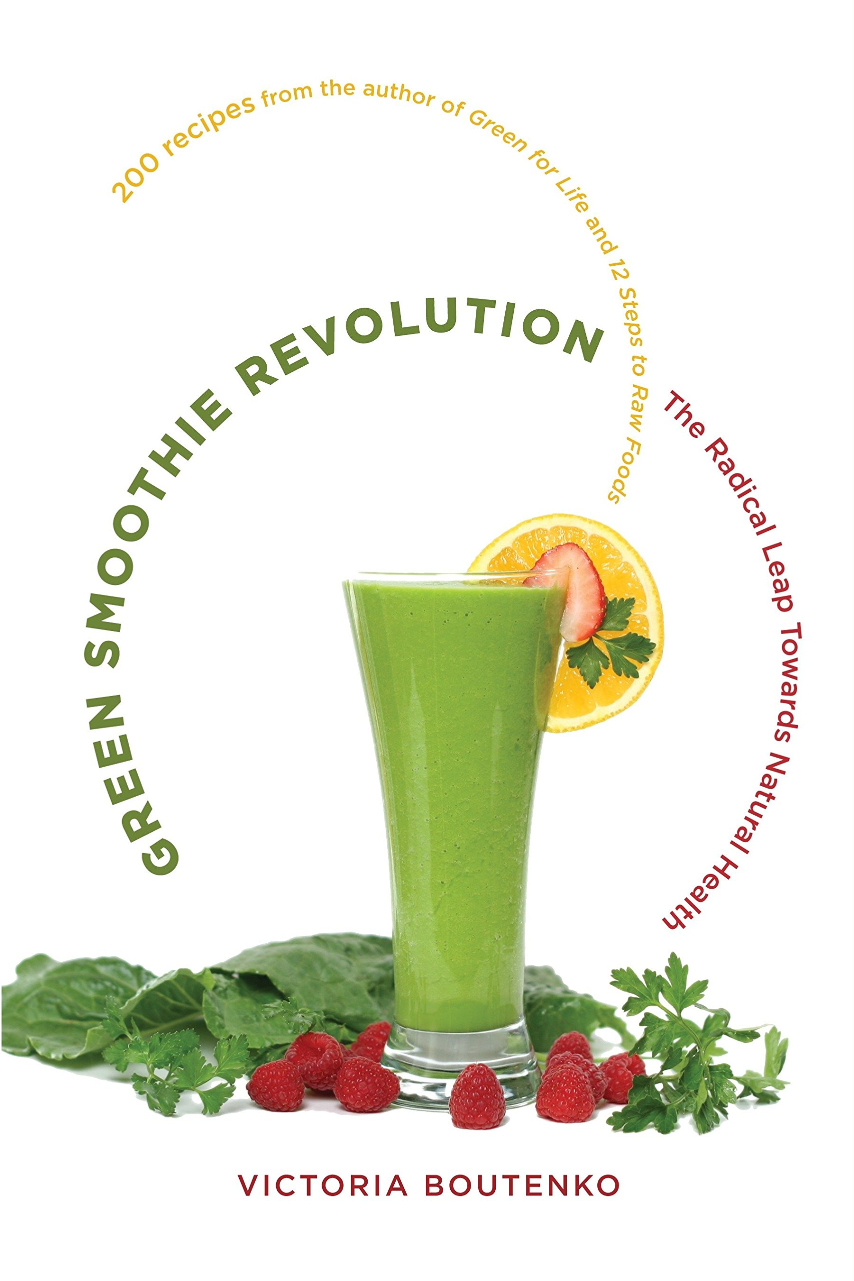 the green smoothie revolution - by Victoria BoutenkoThanks to processed and fast foods, being overworked, and feeling stressed while eating on the fly, it is increasingly difficult for most of us to eat anywhere near a balanced diet. We may not be obviously sick, but may suffer from lack of focus, insomnia, sluggishness, or any host of symptoms caused by nutritional deficiency. Green Smoothie Revolution takes aim at this silent epidemic by restoring balance to our diets.Combining nutrition and know-how with recipes that pack a powerhouse punch, Victoria Boutenko reintroduces long neglected fruits, vegetables, and greens in the most persuasive style for our busy lives: with fast prep and delicious results. Featuring 200 recipes, Green Smoothie Revolution offers both simplicity (4 ripe pears, 1 bunch parsley, 2 cups water; blend well) and enough variety to keep taste buds happy and nutrients coming from a wealth of options.
