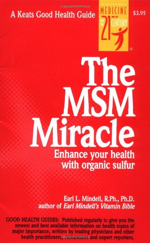 the MSM miracle - by Earl Mindell, PhDBrimstone is the old name for sulfur, its foul smell associated with demons and the fire of Hades. But sulfur is one of the minerals most crucial to life, and an organic form of it, known as MSM, has many remarkable therapeutic properties, from nourishing hair and nails to fighting parasites, clearing up allergies, dealing with digestive problems and relieving the pain of arthritis. Renowned health authority Earl Mindell shows you how to use MSM to maximize your health and well-being.