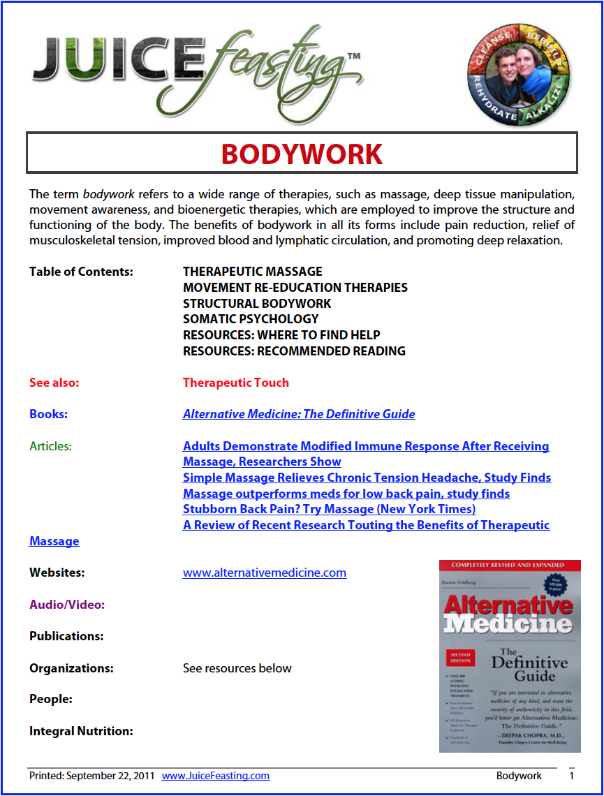 Bodywork - by David Rainoshek, M.A.The term bodywork refers to a wide range of therapies, such as massage, deep tissue manipulation, movement awareness, and bioenergetic therapies, which are employed to improve the structure and functioning of the body. The benefits of bodywork in all its forms include pain reduction, relief of musculoskeletal tension, improved blood and lymphatic circulation, and promoting deep relaxation.