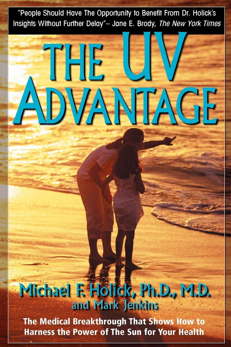"""the uV advantage - by Dr. Michael HolickAn insider with the guts to oppose mainstream guidelines on exposure to sunlight, the best way for most people to make vitamin D, and on taking more than 400 IU of vitamin D per day in supplements, Dr. Holick has followed in Dr. Linus Pauling's footsteps, doing for vitamin D what Pauling did for vitamin C. Here is a fearless quotation describing some of the advice you may have believed:""""So desperate is the anti-sun lobby to convince you of the dangers of the sun so that you will buy its products year-round, the representatives will tell you with a straight face that if it's February in Boston and you're planning to walk to the corner store to buy a quart of milk or sit outside on your lunch break, you should wear [smear on] sunscreen. This is wrong-headed and alarmist. Even on the sunniest February day, the sun isn't strong enough in New England or New York to increase your risk of skin cancer significantly… The scare tactics of the cosme-ceutical industry have been embraced by most of the dermatology profession. These groups have worked in concert and frightened the daylights out of people – or, to put it more accurately, frightened people out of the daylight."""" (pp12-13)Evidence is given from Dr. Holick's own work and others that vitamin D levels are too low in a large fraction of the world's humans, especially those with dark skin and living more than 30° from the equator. This deficiency causes more osteoporosis, rickets, high blood pressure, stroke, heart attacks, arthritis, multiple sclerosis and cancer than had been believed just 20 years ago. The types of skin cancer caused by excessive sunlight are easily treated and are rarely fatal.With the greatest care, Dr. Holick explains how to obtain the UVB rays from the sun (or tanning parlor lights) without receiving too much UVA or becoming burned. He does advocate the use of sunscreens, the ones that absorb UVA as well as UVB, after you have had all the sun exposure that is"""