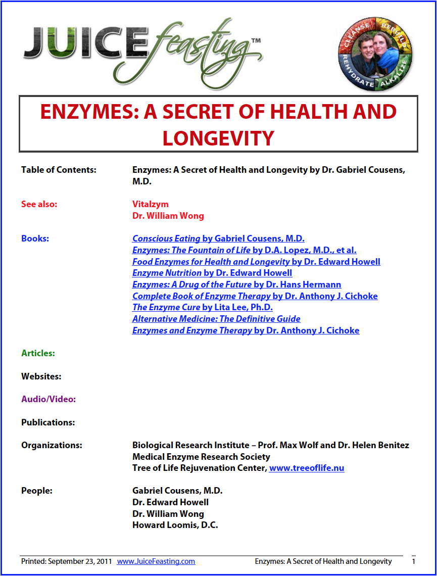 Enzymes: A Secret of Health and Longevity - by Gabriel Cousens, M.D.ENZYMES ARE ONE OF THE MOST IMPORTANT HEALTH FACTORS IN OUR FOODS. The preservation of our enzymes is associated with better health, vitality, and longevity. In this chapter you will learn about food enzymes and how to preserve your own enzyme reserve. If you accept the importance of enzyme preservation, are you ready to change your dietary patterns to conserve them?