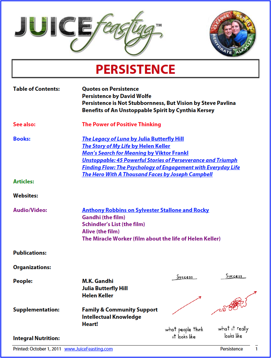 Persistence - by David Rainoshek, M.A.Enjoy this file with memorable and inspirational quotes on persistence, an insightful article on Persistence as Vision (not Stubbornness), Courage vs. Conformity, and The Seven Characteristics of Unstoppable People.