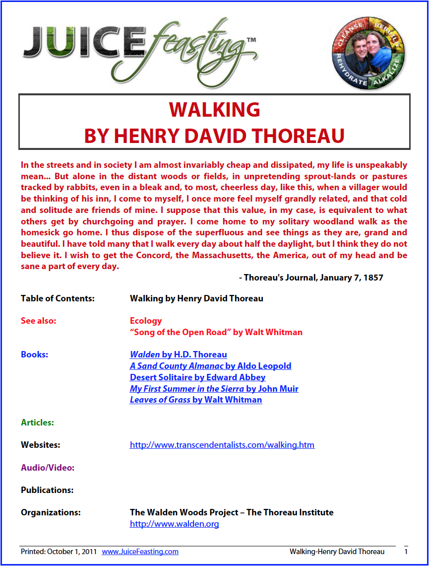 """walking"" by henry david thoreau - In the streets and in society I am almost invariably cheap and dissipated, my life is unspeakably mean… But alone in the distant woods or fields, in unpretending sprout-lands or pastures tracked by rabbits, even in a bleak and, to most, cheerless day, like this, when a villager would be thinking of his inn, I come to myself, I once more feel myself grandly related, and that cold and solitude are friends of mine. I suppose that this value, in my case, is equivalent to what others get by churchgoing and prayer. I come home to my solitary woodland walk as the homesick go home. I thus dispose of the superfluous and see things as they are, grand and beautiful. I have told many that I walk every day about half the daylight, but I think they do not believe it. I wish to get the Concord, the Massachusetts, the America, out of my head and be sane a part of every day. – H.D. Thoreau"