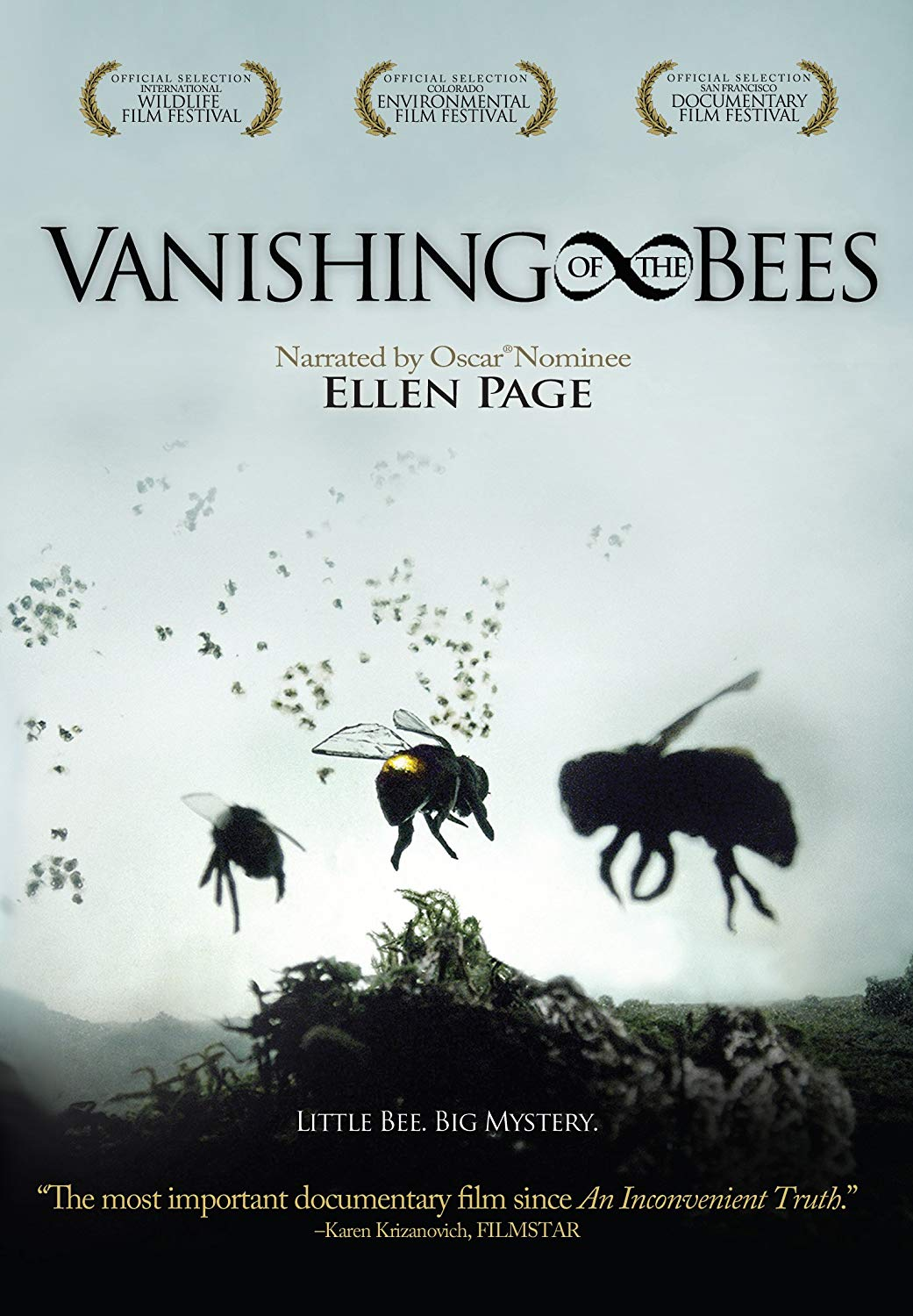 "[Documentary] The Vanishing of the Bees - Honeybees, a keystone species vital to sustaining our ecosystem, are mysteriously disappearing across the planet, literally vanishing from their hives.Known as Colony Collapse Disorder, this phenomenon has brought beekeepers to crisis in an industry responsible for producing apples, broccoli, watermelon, onions, cherries, almonds and a hundred other fruits and vegetables. Commercial honeybee operations pollinate crops that provide one out of every three bites of food on our tables.Narrated by Academy Award nominee Ellen Page, ""Vanishing of the Bees"" follows commercial beekeepers David Hackenberg and Dave Mendes as they strive to keep their bees healthy and fulfill pollination contracts across the U.S. The film explores the struggles they face as the two friends plead their case on Capitol Hill and travel across the Pacific Ocean in the quest to protect their honeybees.Filming across the US, in Europe, Australia and Asia, this documentary examines the alarming disappearance of honeybees and the greater meaning it holds about the relationship between mankind and mother earth. As scientists puzzle over the cause, organic beekeepers indicate alternative reasons for this tragic loss. Conflicting opinions abound and after years of research, a definitive answer has not been found to this harrowing mystery.Following the story for three years, directors George Langworthy and Maryam Henein chronicle the innermost thoughts and feelings of beekeepers and scientists as they fight to preserve the honeybee and make it through another day. Combining interviews from around the world, animation, 50's educational films and breathtaking nature cinematography, George and Maryam present not just a story about Colony Collapse Disorder, but a platform full of solutions, encouraging audiences to be the change they want to see in the world."