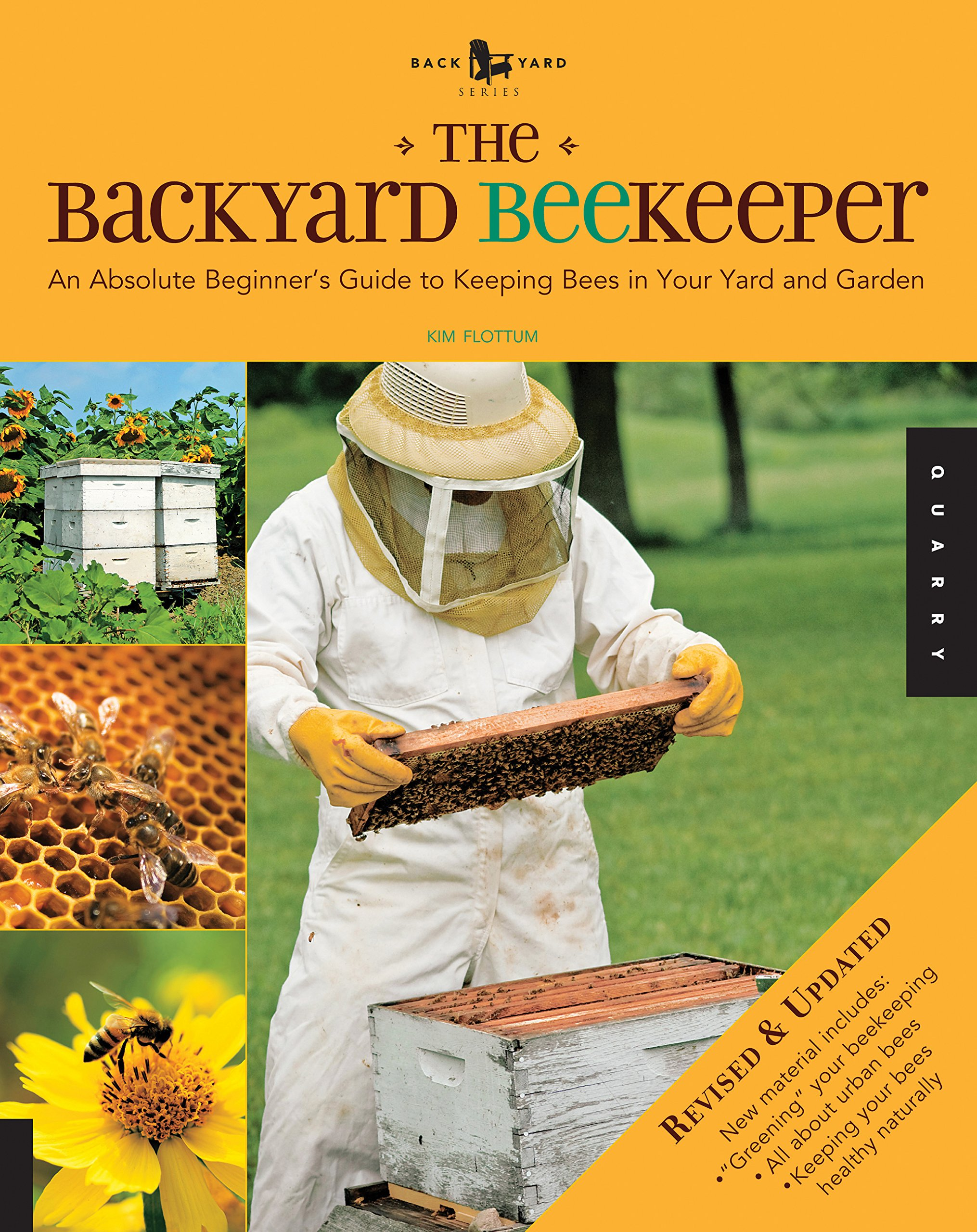 "the backyard beekeeper - By Kim FlottumThe Backyard Beekeeper, now revised and expanded, makes the time-honored and complex tradition of beekeeping an enjoyable and accessible backyard pastime that will appeal to gardeners, crafters, and cooks everywhere. This expanded edition gives you even more information on ""greening"" your beekeeping with sustainable practices, pesticide-resistant bees, and urban and suburban beekeeping. More than a guide to beekeeping, it is a handbook for harvesting the products of a beehive and a honey cookbook–all in one lively, beautifully illustrated reference.This complete honey bee resource contains general information on bees; a how-to guide to the art of bee keeping and how to set up, care for, and harvest honey from your own colonies; as well as tons of bee-related facts and projects. You'll learn the best place to locate your new bee colonies for their safety and yours, and you'll study the best organic and nontoxic ways to care for your bees, from providing fresh water and protection from the elements to keeping them healthy, happy, and productive. Recipes of delicious treats, and instructions on how to use honey and beeswax to make candles and beauty treatments are also included."