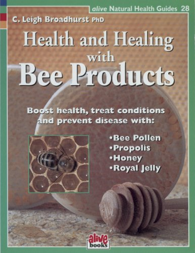 "health and healing with bee products - By C. Leigh BroadhurstBeehive products are nutritional and medicinal powerhouses-the ultimate ""nutraceuticals."" They are effectively used for hundreds of reasons from helping to alleviate allergies, fatigue, and impotence to recovery from illness and surgery. This book provides information on the health benefits of bee pollen, propolis, honey and royal jelly. Includes recipes that let the honey bee's magic into your kitchen for both taste and health."