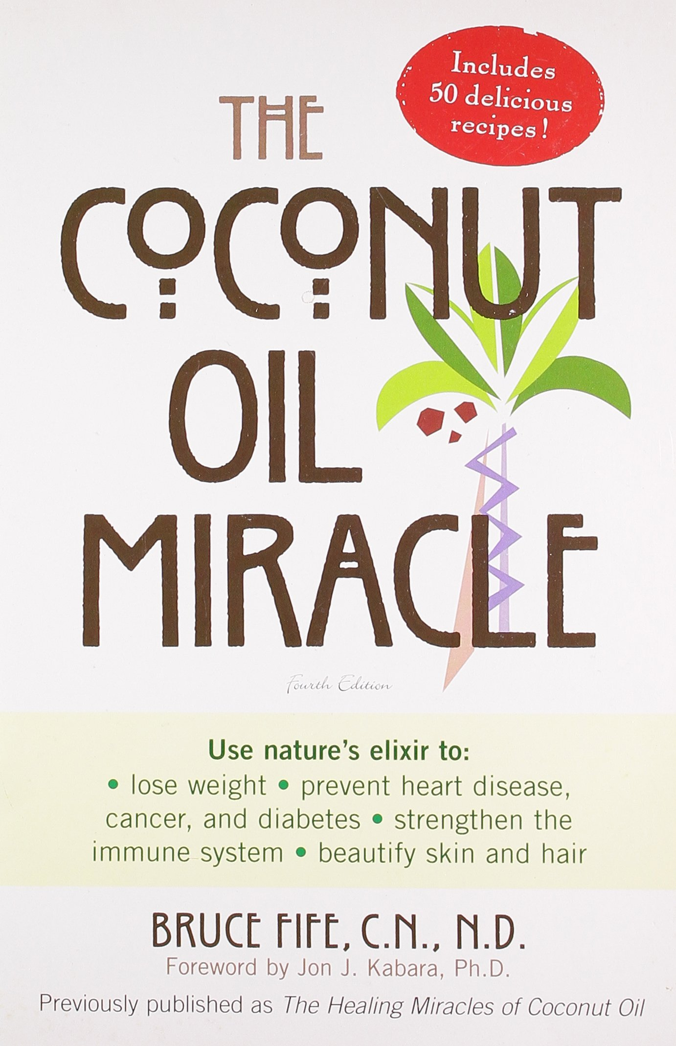"The Coconut Oil Miracle - by Bruce Fife, NDUse nature's elixir to lose weight, prevent heart disease, cancer, and diabetes, and beautify skin and hair. Can saturated fat be good for you?Natural coconut oil-not the hydrogenated version often found in processed foods-is a saturated fat, but not the kind your doctor has warned you about. Studies have shown that this uniquely curative oil actually has innumerable health benefits ranging from disease prevention to anti-aging. Now, in his revised edition of the first book to describe the therapeutic properties of coconut oil, Bruce Fife offers a nutrition plan with dozens of tasty recipes that will allow anyone to experience the healing miracles of what he deems the ""perfect food."" When taken as a supplement, used in cooking, or applied to directly to the skin, coconut oil has been found to:+ Promote weight loss+ Help protect against heart disease, cancer, diabetes, arthritis, and many other degenerative diseases+ Strengthen the immune system+ Improve digestion+ Prevent premature aging of the skin"