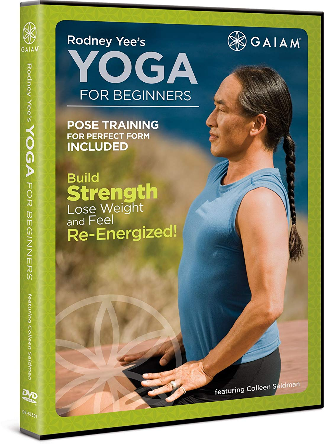 [DVD] Rodney Yee's Yoga for Beginners - Get that long, lean yoga look while centering your mind and improving posture and fl exibility. Yoga masters Rodney Yee and Colleen Saidman demonstrate all the basic poses in a detailed 40-minute Pose Training session. Learn accurate alignment, technique and how to avoid the mistakes they see most often. Then, put those lessons into practice with two full-length workouts. The 20-minute Morning Workout will get your day off to a refreshing start, helping you awaken and energize. The 15-minute Evening Workout restores, relaxes and soothes. Choose full, in-depth guidance as you get familiar with the routine or opt for minimal conversation so you can take in the sights and sounds of beautiful Molokai, Hawaii.