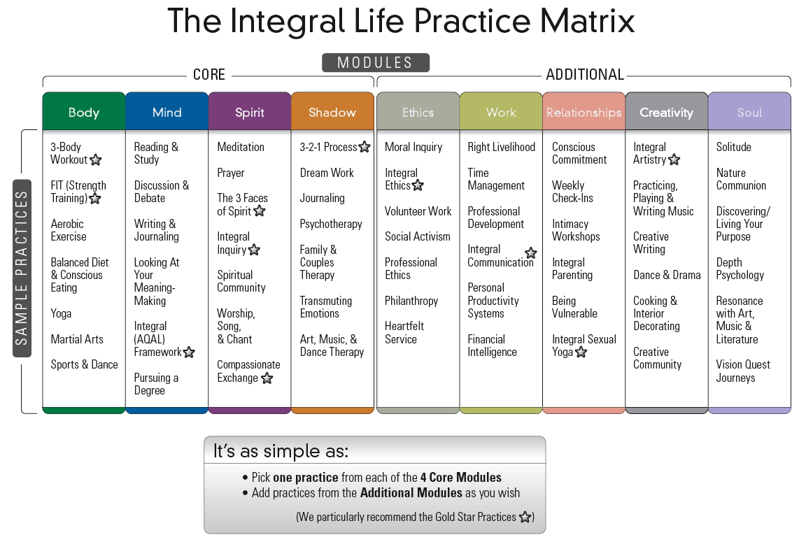 The Integral Life Practice Matrix in  Integral Life Practice  by Ken Wilber