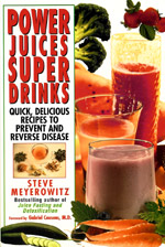 "Power Juices, Super Drinks by Steve Meyerowitz - This is the latest, greatest compendium on juicing and juice therapy in the 21st century. Chapter subjects include power drinks for the body and mind, for longevity, nutrient sources, and much more. The material is presented clearly, with lightness and humor, which Steve Meyerwitz is known for! A major part of the book presents drinks, which may be teas, smoothies, citrus juices or other kinds of vegetable or fruit juices, for specific conditions. There are chapters on power drinks for the physical body, for the mind, and for longevity. The longest chapter, called ""Power drinks – Medicine Chest"", details nutritional therapies and recipes for 115 different health disorders. The author has been a raw-food vegetarian for over 20 years."