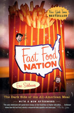 "Fast Food Nation by Eric Schlosser - (2001, 383 pages, softcover) Americans now spend more money on fast food than on higher education, personal computers, computer software, or new cars. They spend more on fast food than on movies, books, magazines, newspapers, videos, and recorded music combined. Did you know: McDonalds spends $3 billion on advertising and marketing directly toward children? 90% of American children between the ages of 3-9 visit McDonalds. The average American eats 3 hamburgers a week? Did you know that what we eat has changed more in the last 40 years than in the last 40,000!In Eric Schlosser's new book, Fast Food Nation, he shatters all myths and uncovers the fast food chains efforts to reel in the youngest and most susceptible consumers, highlighting the institutionalized exploitation of teenagers and minorities. Schlosser reveals the history that has led to the present ""Fast Food Nation"" called America, as well as its detrimental effects both economically and socially. He is credited for bringing light to the fact that hundreds of millions of people buy fast food everyday without giving much thought to the physical, social, economic, and environmental ramifications of their purchases. This book has been thoroughly researched and has many interesting facts about the history of fast food."
