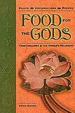 Food for the Gods by Rynn Berry - This book contains interviews with the leading vegetarian authorities in the following religious traditions: Jainism, Buddhism, Hinduism, Taoism, Judaism, Roman Catholicism, Islam, and Protestant Christianity. Also included are vegetarian recipes corresponding to each religious tradition. A discussion of raw-food vegetarianism is made. A wonderful gift idea for vegetarian friends and family and for those interested in spirituality and vegetarianism.In ten illuminating essays followed by fascinating conversations with vegetarian religious thinkers, Food for the Gods answers such questions as:– Why were so many of the founders of the world's great religions vegetarians?– Was Jesus a vegetarian?– Did the Buddha die from eating rotting meat?– Which are the most ecologically sensitive religions?– What is the future for vegetarianism and religion in the new millennium?