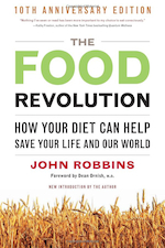 The Food Revolution by John Robbins - (2001, 450 pages, softcover) John Robbins has finally outdone his masterpiece Diet For A New America. In this new book John Robbins exposes the truth about popular standard American diets (SAD), genetically modified foods, Mad Cow disease, and the true impact of the foods we eat on ourselves and the environment. In an unbelievable barrage of incredibly researched facts, John Robbins presents information such as the amount of antibiotics administered to people in the United States annually: 3 million pounds, the amount administered to livestock in the United States annually: 24.6 million pounds; U.S. corn eaten by people: 2%, U.S. corn eaten by livestock: 77%; U.S. farmland producing vegetables: 4 million acres, U.S. farmland producing hay for livestock: 56 million acres; World's population living in the U.S.: 4%, World's beef eaten in the United States: 23%. Consistent scientific evidence (not coincidence or subjectivism) is the backbone of John Robbins' work.John Robbins' facts expose why vegetarian nutrition is the safest, sanest choice. John Robbins demonstrates that plant foods contain at least a thousand substances: phytochemicals, bioflavonoids, carotenoids, retinols, isoflavones, lycopene, genistein, and so on, that have anti-cancer, heart healing, and youthing properties. John Robbins wrote The Food Revolution with the belief that, given a chance, most people can tell the difference between propaganda of industries whose entire intention is to promote and sell products, and data from researchers and scientists whose focus is the public interest.