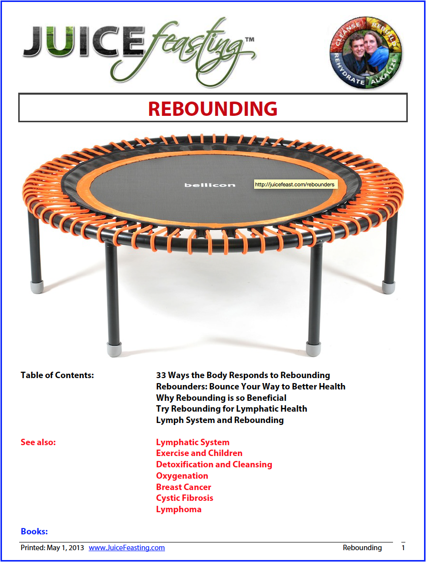 Rebounding! - by David Rainoshek, M.A.The study of the human body is fairly interesting. The moment it becomes no less than amazing is when we understand what happens as the body is placed under the demands of movement and resistance we call exercise. Rebounding is an effective exercise that reduces your body fat; firms your arms, legs, thighs, abdomen, and hips; increases your agility; strengthens your muscles overall; provides an aerobic effect for your cardiopulmonary systems; rejuvenates your body when it's tired, and generally puts you in a state of mental and physical wellness. Enjoy lifting off with Rebounding in this crucial file!