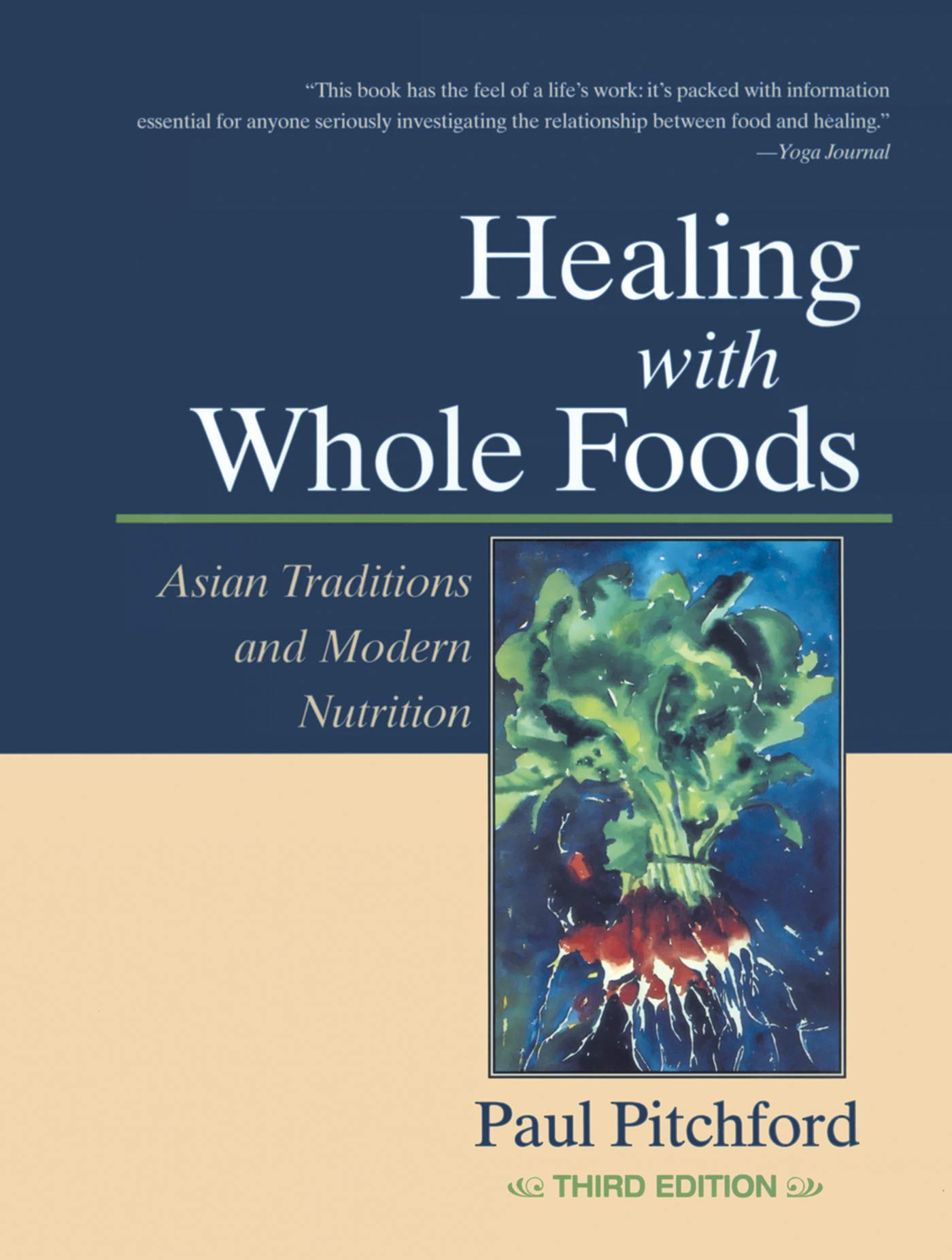 """healing with whole foods: asian traditions and modern nutrition - By Paul PitchfordUsed as a reference by students of acupuncture, this is a hefty, truly comprehensive guide to the theory and healing power of Chinese medicine. It's also a primer on nutrition—including facts about green foods, such as spirulina and blue-green algae, and the """"regeneration diets"""" used by cancer patients and arthritics—along with an inspiring cookbook with more than 300 mostly vegetarian, nutrient-packed recipes.The information on Chinese medicine is useful for helping to diagnose health imbalances, especially nascent illnesses. It's smartly paired with the whole-foods program because the Chinese have attributed various health-balancing properties to foods, so you can tailor your diet to help alleviate symptoms of illness. For example, Chinese medicine dictates that someone with low energy and a pale complexion (a yin deficiency) would benefit from avoiding bitter foods and increasing """"sweet"""" foods such as soy, black sesame seeds, parsnips, rice, and oats. (Note that the Chinese definition of sweet foods is much different from the American one!)Pitchford says in his dedication that he hopes the reader finds """"healing, awareness, and peace"""" from following his program. The diet is certainly acetic by American standards (no alcohol, caffeine, white flour, fried foods, or sugar, and a minimum of eggs and dairy) but the reasons he gives for avoiding these """"negative energy"""" foods are compelling. From the adrenal damage imparted by coffee to immune dysfunction brought on by excess refined sugar, Pitchford spurs you to rethink every dietary choice and its ultimate influence on your health. Without being alarmist, he adds dietary tips for protecting yourself against the dangers of modern life, including neutralizing damage from water fluoridation (thyroid and immune-system problems may result; fluoride is a carcinogen). There's further reading on food combining, female health, heart disease, preg"""