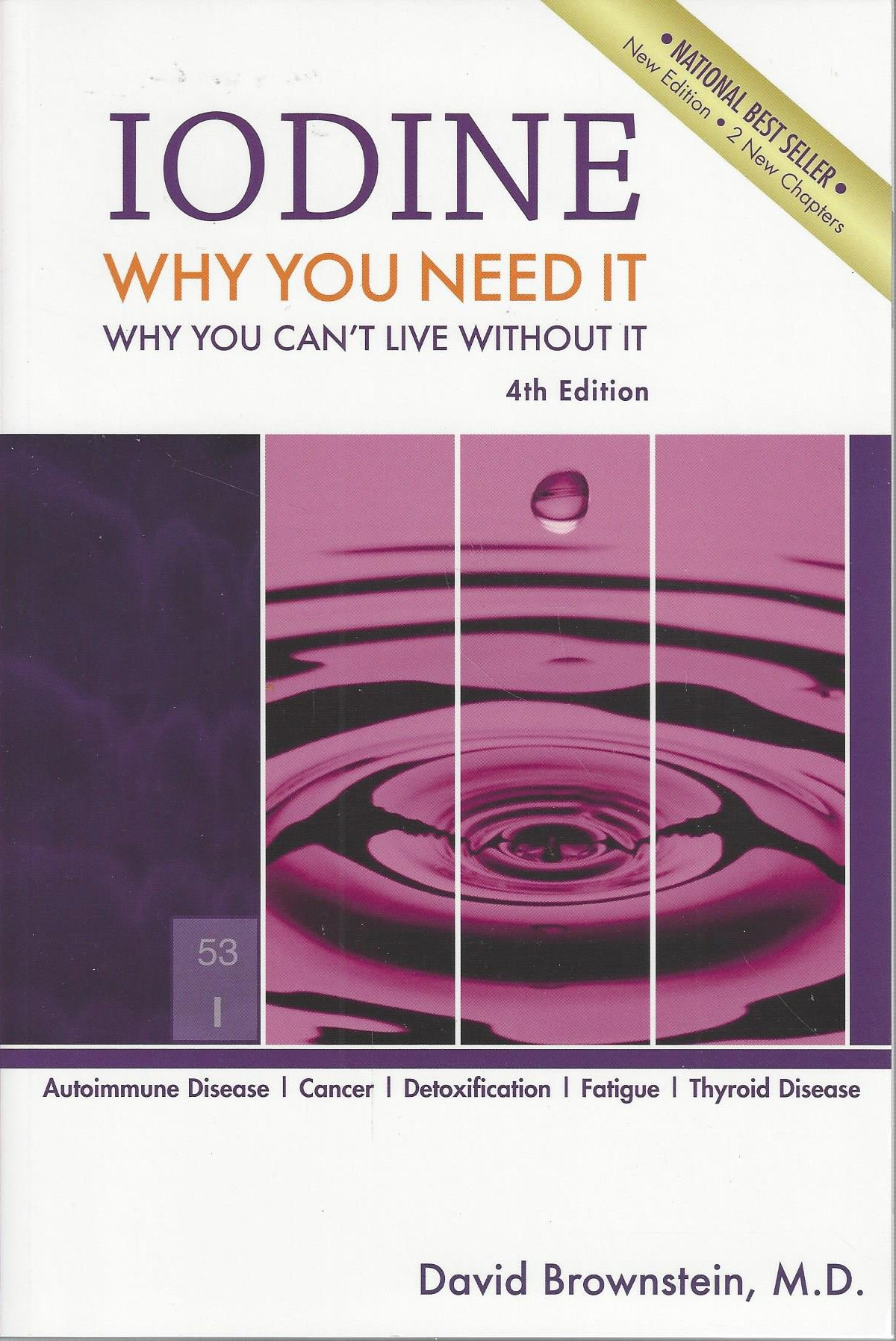 """iodine: why you need it, why you can't live without it - By David BrownsteinWell written and interesting, this book explains how iodine plays a crucial role in many aspects of health and why iodized salt does not supply our needs. Due to deterioration of soils/foods as well as poorer modern diets and environments (particularly the deliberate pollution of drinking water with fluorine, fluoride and chlorine, which are all toxic), severe iodine deficiency is epidemic in many English-speaking countries.It's not just good for thyroid problems: some acclaim iodine for helping to heal breast cancer and cysts; for skin problems like acne, eczema, moles and skin tags; for fatigue symptoms; for fungus infections; for detoxification; and much more. It seems to have an amazingly wide application, since it can kill all single celled organisms and is the most effective known antiseptic. The author of this book, Dr Brownstein, confirms """"Iodine has many positive therapeutic actions. It is a potent anti-infective agent. No virus, bacteria or parasite has been shown to be resistant to iodine therapy."""" He also repeatedly hails its proven anti-cancer effects."""