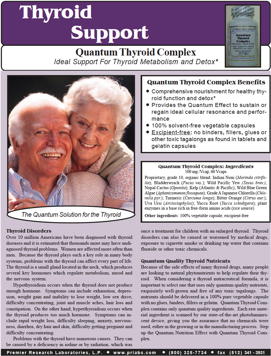 thyroid complex by premier research labs - Because of the side effects of many thyroid drugs, many people are looking to natural phytonutrients to help regulate their thyroid.When considering a thyroid nutraceutical formula, it is important to select one that uses only quantum quality nutrients, exquisitely well-grown and free of any toxic tagalongs.