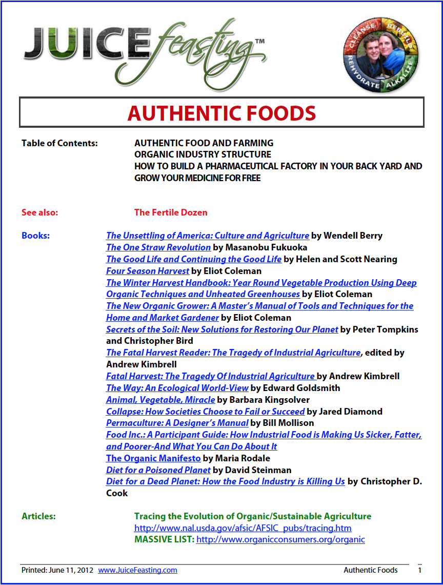 "authentic foods - by David Rainoshek, M.A.This file is HUGE in terms of understanding the Organic Imperative for person, community, society, and planet. Authentic Farming is a term Eliot Coleman coined after the USDA and modern agribusiness decided that ""Organic"" was profitable enough to try and compromise so that more agribusinesses could stick the label on and make money, even though the food was irradiated, GMO, etc. The term Authentic puts a finer point on where we want our food, agriculturally speaking. Enjoy."