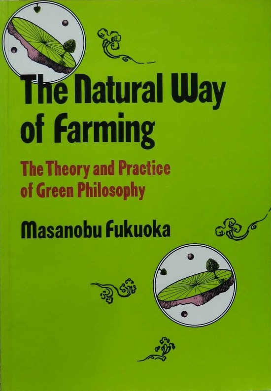 "the natural way of farming - By Masonobu FukuokaDoing nothing, being nothing, becoming nothing is the goal of Fukuoka's farming method, an approach to agriculture which he has pursued for over forty years with resounding success. With no tillage, no fertilizer, no weeding and no pesticides he consistently produces rice, barley, fruit and vegetable crops that equal or exceed the yield per acre of neighboring farmers who embrace modern scientific agriculture. The basis of his philosophy is that nature grows plants just fine without our interference so that the most practical approach is to get out of the way. In the course of explaining his reasoning and methods, this do-nothing farmer delivers a scorching indictment of chemical agriculture and the human assumption that we can improve on nature. He explains the beneficial role of insects and plants usually characterized as pests, the fallacy of artificially boosting fertility with petrochemical concoctions, the logical error implicit in the use of farm machinery or draft animals, and why pollution is an inevitable result of misguided attempts to improve on nature. Calculation of the energy input versus the caloric output of various farms results in the surprising discovery (perhaps it shouldn't be) that (minimal) human labor is the most efficient way to produce food. Draft animals add more work and more energy input, small scale machines compound the problem and large scale mechanized agriculture proves to be a vast waste of energy. He calls modern American farmers ""subcontractors of the oil industry,"" and claims that traditional Japanese farmers on 3-5 acres achieve a real net income higher than American farmers on 500-700 acres."