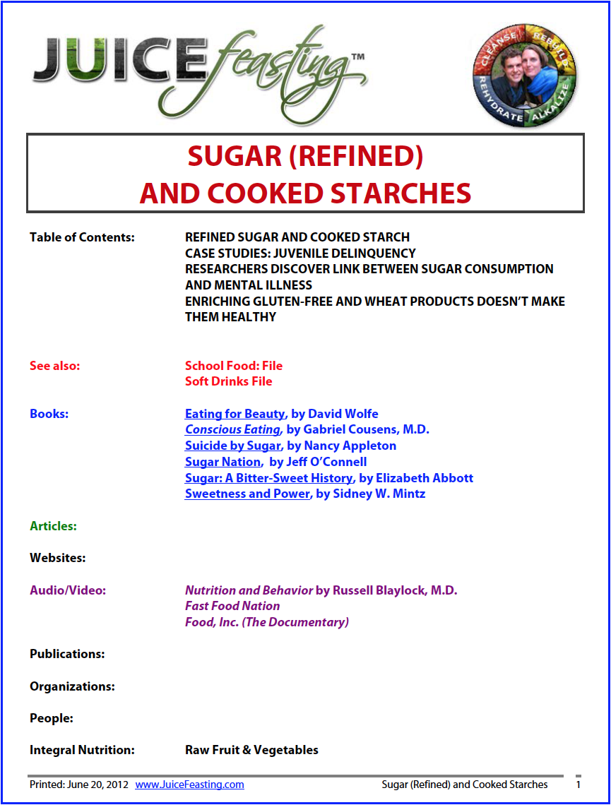 sugar (refined) and cooked starches - by David Rainoshek, M.A.The theme of the day is carbohydrates, particularly processed and refined sugars. This file is small, but with some excellent and memorable points that you will not soon want to forget about the effects of eating refined sugar.For more on sugar-related issues, you are going to enjoy Day 72: Overweight/Obesity and Diabetes. You can also look forward to Days 69, 80, and 87 (Artificial Sweeteners).