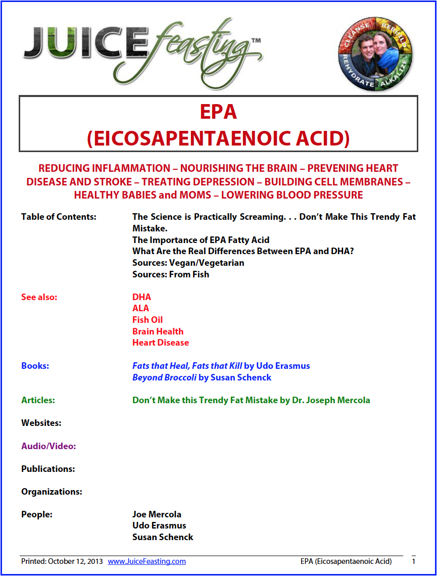 EPA (Special, Crucial OMEGA-3 FAT) - by David Rainoshek, M.A.Check it out: REDUCING INFLAMMATION – NOURISHING THE BRAIN – PREVENTING HEART DISEASE AND STROKE – TREATING DEPRESSION – BUILDING CELL MEMBRANES – HEALTHY BABIES and MOMS – LOWERING BLOOD PRESSURE.Sound good? Read on!