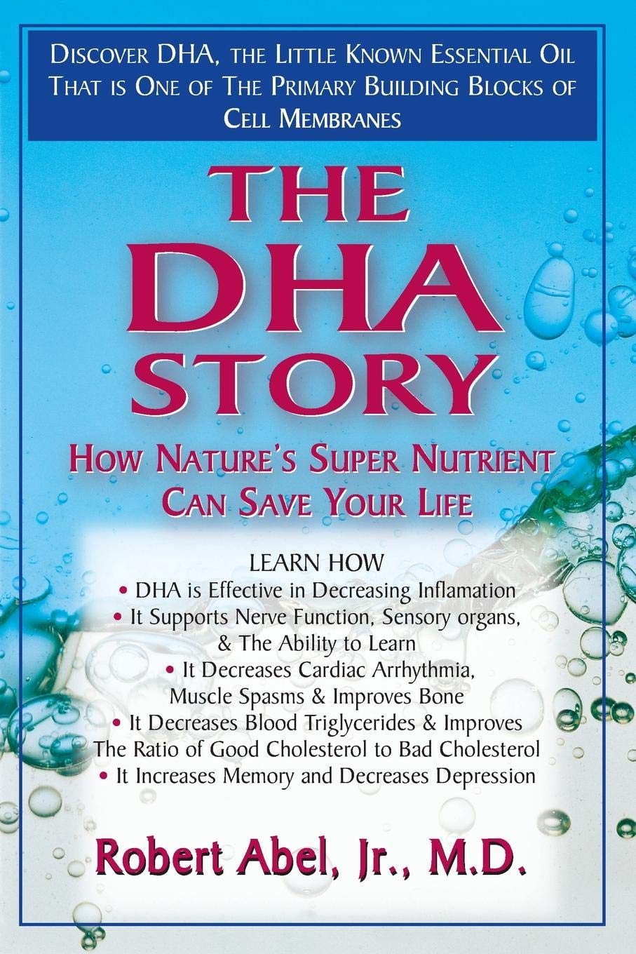 the DHA story - By Robert AbelDHA is an essential building block of the membranes of brain cells and retinal photoreceptors. In fact, each and every cell membrane in the body gains strength and flexibility from this omega-3 polyunsaturated fatty acid. DHA has been shown to deactivate the enzymes that destroy cartilage and is therefore useful in protecting against arthritis.In addition, it is a biochemical sponge that can literally soak up the free radicals which are responsible for a host of degenerative diseases. And low levels of DHA have been implicated in ADD – attention deficit disorder – Alzheimer's and depression. In fact, studies reveal that brains of Alzheimer's patients have 30 percent less DHA than brains of comparably aged people who do not have the disease.In The DHA Story: How Nature's Super Nutrient Can Save Your Life, noted physician and author Robert Abel Jr., M.D., delivers the scientific evidence for the importance of this amazing nutrient. In so doing, he takes the reader on a journey through time, back to discover the very base of the food chain…back to a time before synthetic chemicals and refined foods had interfered with the framework of living cells. You'll learn how to use that framework to help you counteract the negative effects of refined sugar and flour, saturated fats and oils, artificial sweeteners and colorings, alcohol and pollutants. The DHA Story: How Nature's Super Nutrient Can Save Your Life will help you increase your consumption of DHA to improve your vital functions and mental status.